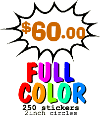 250 full color stickers $41.50