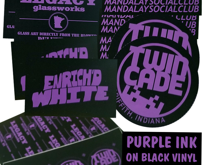 PURPLE INK on BLACK VINYL stickers!